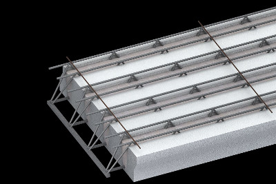 Hi-efficiency light precast panel for floor slab